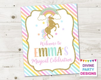 PERSONALIZED Printable Gold Glitter Unicorn and Rainbows Welcome Sign / Birthday Party / Baby Shower / Unicorn Collection / Item #3504