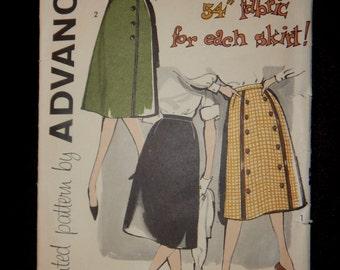 Vintage Skirt Pattern Advance 9464 Sixties '60's Waist 26