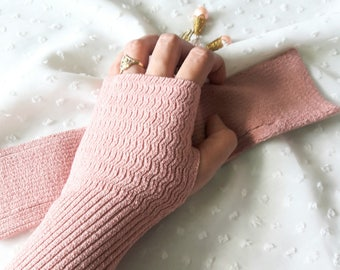 """11"""" Dusty Pink Fingerless Knitted Arm Sleeves, Arm Warmers, Arm Gloves, Arm Covers for Girls & Women"""