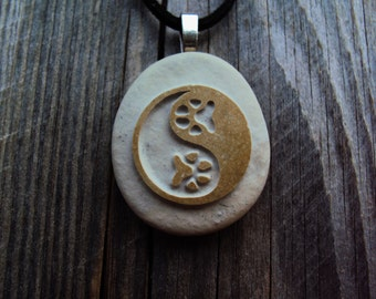 Yin Yang Paws Necklace, Zen Jewelry, Animal Dog Cat Jewelry, Yin Yang Jewelry, Best Friend, Pet Lover Gift, Pet Loss, Dog Cat Tag