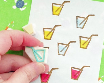 glass of juice rubber stamp set | lemonade stamp | birthday party prop making | diy planner | hand carved by talktothesun | set of 2