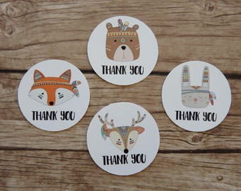 Set of 15+ Thank You Stickers - Tribal Woodland Animals, Fox Deer Bear Rabbit, Wild One Party,