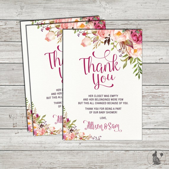 Bohemian Floral Thank You Card. Boho Baby Shower Printable Thank You Notes.  Watercolor Flower Baby Shower. Vintage Shower Favors. FLO7