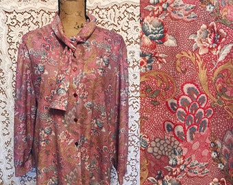 60s Pink Paisley Long Sleeve Blouse Ascot Neckline Pastel Spring Fashion Button Down Top Pinks Blues Golds