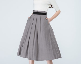 flared skirt, linen skirt, grey skirt, skirt with pockets, swing skirt, ladies skirt, high waisted skirt, pleated skirt, womens skirts  1691