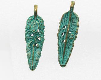 10PCS  Turquoise Verdigris Patina Feather Pendants Boho Hippie Style