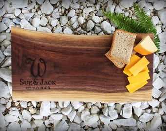 Personalized Wedding Gift - Cutting Board - Live Edge Black Walnut - Custom Wedding Cutting Board - Wedding Serving Tray - Wedding Day Gift
