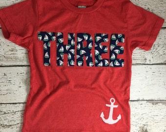 Nautical birthday party, nautical invitation, beach party, nautical shirt, sailboat party, Nautical Theme Birthday Shirt, kid's birthday tee