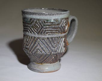 Ceramic Carved Coffee Cup, Handmade 8 oz. Pottery Art