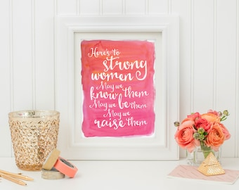 Wall Art Print - Wall Art Quote - Instant Download - Printable Art - Strong Women - Typography Quote - Inspirational Art - Quote Print