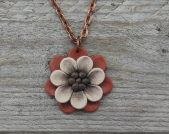 Whimsical Flower Pendant Necklace - Orange and White Layered Petals