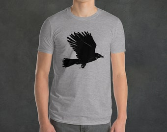 Gothic Graphic tee with Raven, Crow, Black Bird design | Raven Silhouette Gothic Graphic Tee