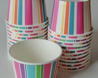 1 SET Rainbow Striped Party Cups, Orange Yellow Blue Purple Pink Green, Ice Cream Cups Dessert Bowls' Kids Birthday Unicorn Party, Tea Party