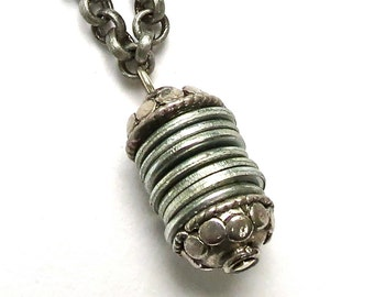 Hardware necklace-silver chain-industrial necklace-hardware washer necklace-industrial pendant-Repurposed-found object-Washer Pendant