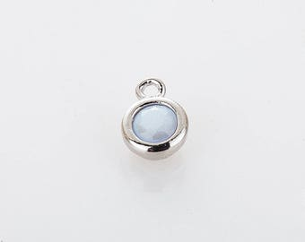 3mm CZ- White opal June Birthstone Charm, 3mm CZ Birthstone Necklace, Personalized Jewelry, Polished Rhodium-plated -1pc [P0368-PRWO]