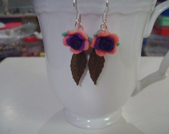 Pink and Purple Rose Earrings - Free Shipping