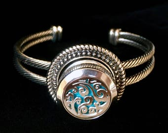 Essential Oil Diffuser Bracelet, Aromatherapy Bracelet, Snap Button Bracelet, Noosa Style, Cuff Bracelet, Essential Oil Locket