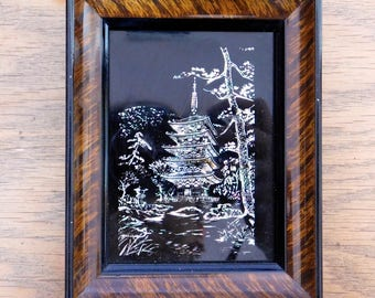 Vintage Framed Japanese Mother-of-Pearl Under Glass Artwork - Black Reverse-Painted Glass - 2.75 x 3.75 inches - Pagoda, Trees, Water