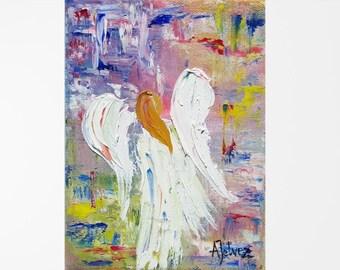 Angel painting Angel wings Guardian angel Angel art canvas Angel oil painting Original oil painting Angel artwork Angel decor Abstract 6x8