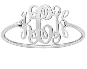 Silver monogram bracelet personalized with any initial made with 925 sterling silver