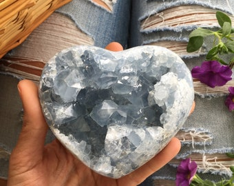 Celestite heart, celestite geode, celestite cluster, raw celestite, blue crystal