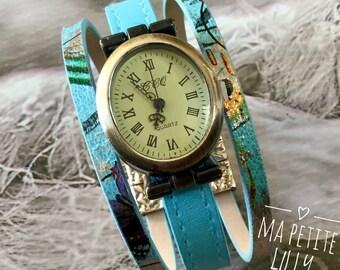 Oval bronze bracelet Watch Blue