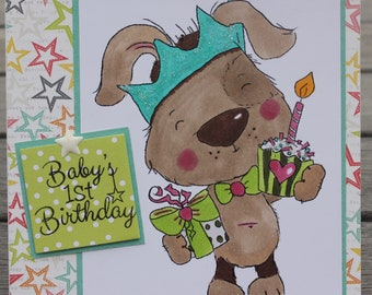 Babys 1st Birthday Card Dog Themed Polkadoodles