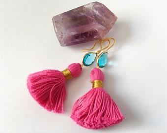 Blue Topaz Pink Tassel Gold Earrings