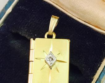 Vintage 12K Gold Filled Diamond Book Locket Necklace  Pendant