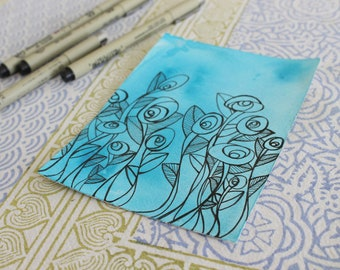 Small Flower Drawing with Blue Background