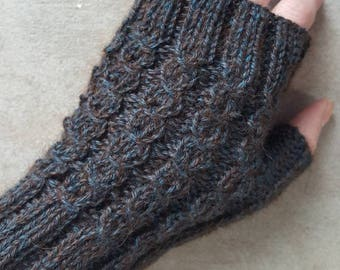 Alpaca Fingerless Gloves [See Matching Hat Listing] / Womens S to M /Hand knit / Cabled / Blue Brown 100% Alpaca Fiber HYPOALLERGENIC