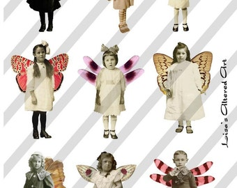 Digital Collage Sheet Fairies With Wings 15 (Sheet no. FW15) Instant Download