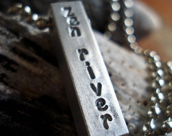 Custom Stamped Bar Necklace for Moms or Dads - Personalized with Name on Rectangle Aluminum Bar