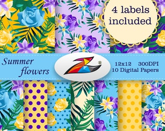 Sale Summer Flower digital paper Invitation birthday wedding planner summer paper floral pattern scrapbook paper Commercial Use