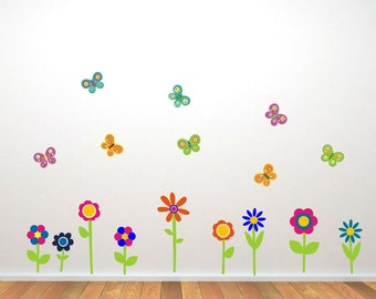 Flower and Butterfly Wall Stickers, Flower Wall Decals, Butterfly Wall Art, Flower Wall Transfers - Removable and Repositionable - FA026