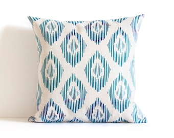 Blue Pattern Pillow Cover, Blue Throw Pillow, Decorative Pillow Cover, Cushion Cover, Christmas Gift Idea