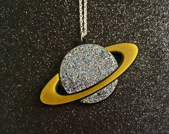 Laser Cut Saturn Planet Glittery Space Statement Acrylic Necklace