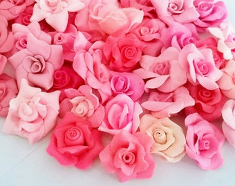 200 pcs of Miniature Roses Polymer Clay Flowers & Beads Supplies