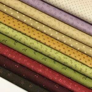 10 Quilt Fabric Fat Quarters in Small Scale  - Civil War Reproduction -Andover ~  Kathy Hall ~ Itsy Bits