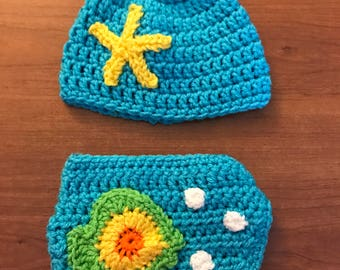 Crochet Fish Bowl Hat and Diaper Cover-Nappy Cover-Diaper Cover-Fish Bowl Hat- Fish Bowl Diaper Cover-Baby Gift-Custom Made