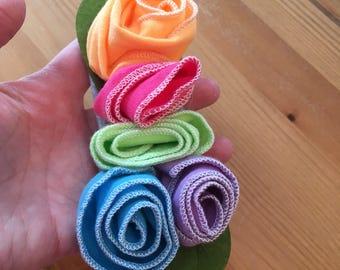 Cotton colorful roses headband