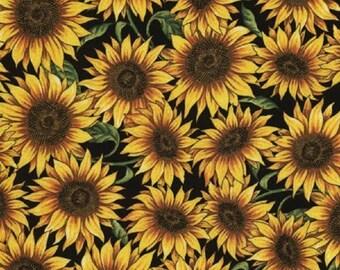 Timeless Treasures Packed Sunflowers - Black
