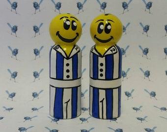 Handpainted Wooden Peg Dolls - Banana's in Pajamas