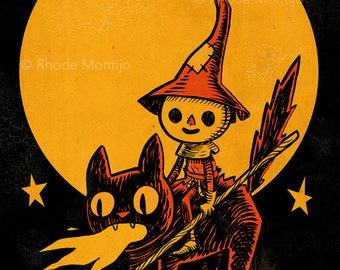"Scarecrow on Flaming Cat 12"" x 18"" Signed Halloween Art Print by Rhode Montijo"