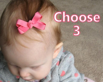 PICK 3 - Newborn Hair Bows - baby hair bows - baby hair clips - toddler hair bows - small hair bows - 2 inch boutique bows snap clips - mm