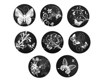 12mm, set of 8 cabochons butterflies and flowers
