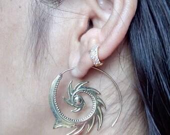 Brass earrings, Tribal earrings, Indian earrings, spiral earrings