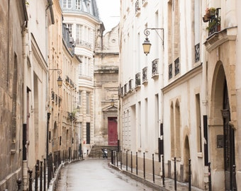 Paris Photography, Quiet Morning in the Marais, St Paul, soft blue and grey tones, French Deco, Paris Wall Art, Paris Photography Print