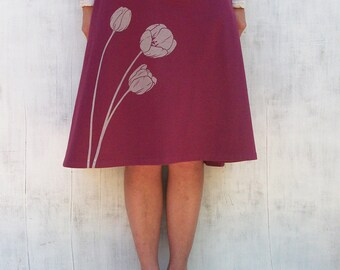 Organic Jersey Knit Skirt- Knee Length Skirt for Women - Stretchy Wine Skirt- A Line Floral Skirt- Comfy Spandex Skirt - Graphic Skirt