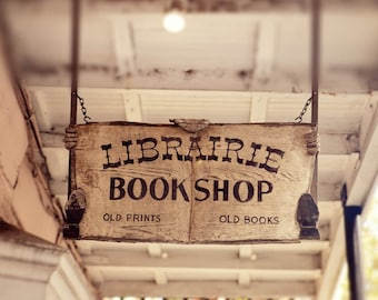 new orleans photography book lover photograph vintage sign decor chartres street new orleans art Librairie Bookshop